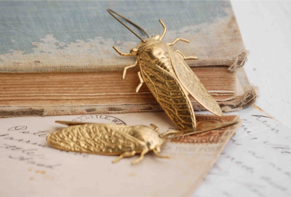 Big GOLD Beetle EARRINGS