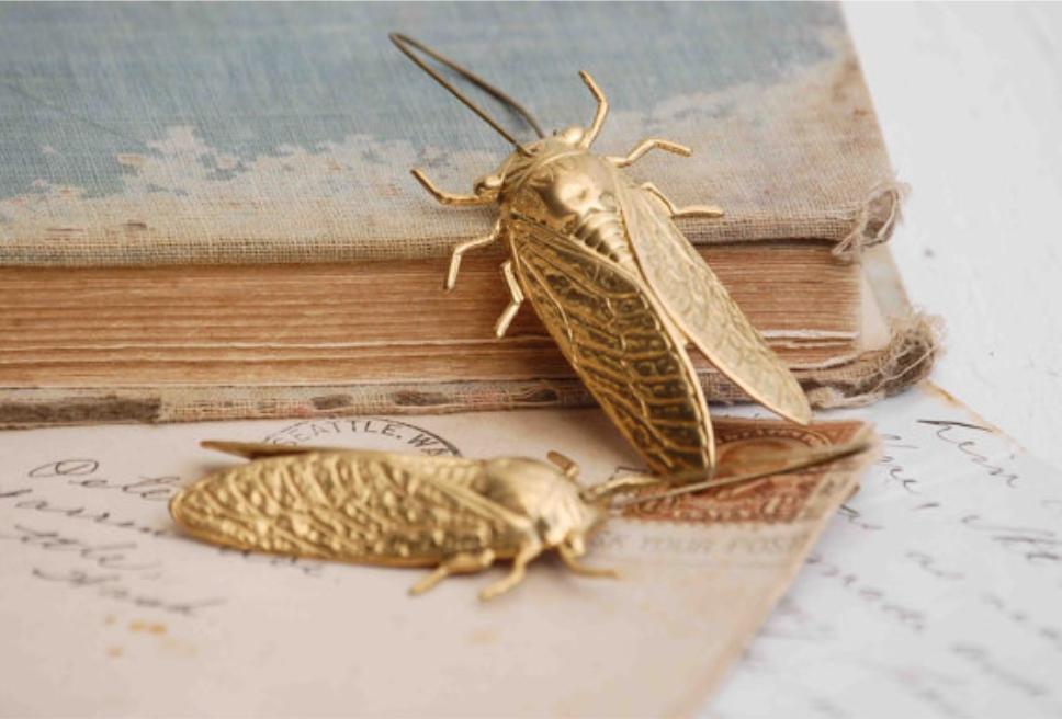 Big GOLD Beetle EARRINGS